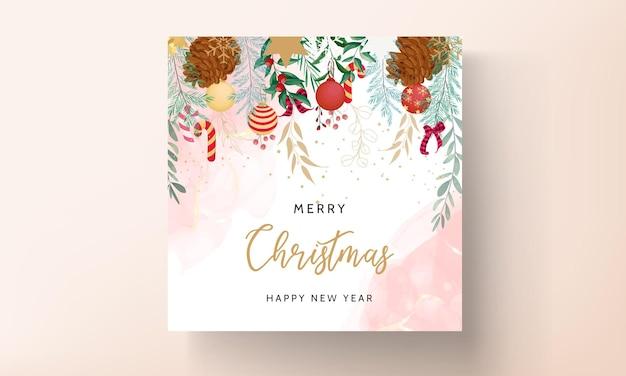 美しいクリスマス飾りのメリークリスマスカード