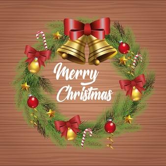 Веселая рождественская открытка с колокольчиками и шариками