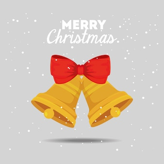 Merry christmas card with bells and bow ribbon