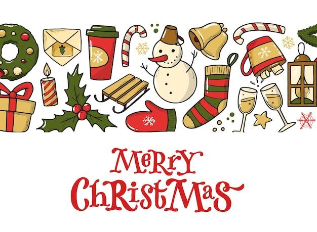 낙서의 테두리가 있는 메리 크리스마스 카드
