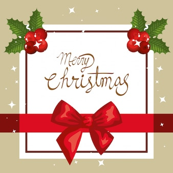 Merry christmas card with bow ribbon and square frame