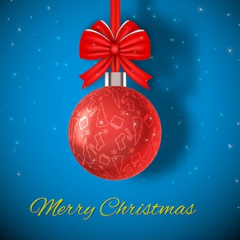 Merry christmas card with bright red ball flat vector illustration