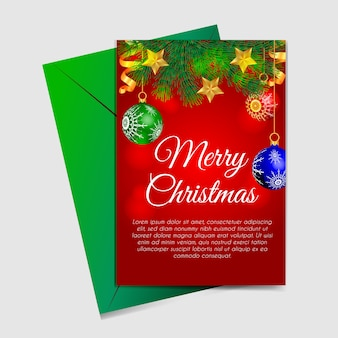 Merry christmas card with christmas chandelier, star and  ribbon gold
