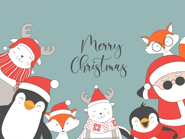 Merry christmas card with christmas characters