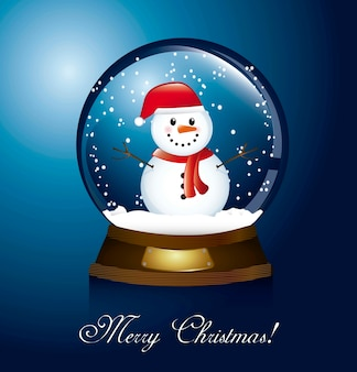 Merry christmas card with christmas globe and snowman vector