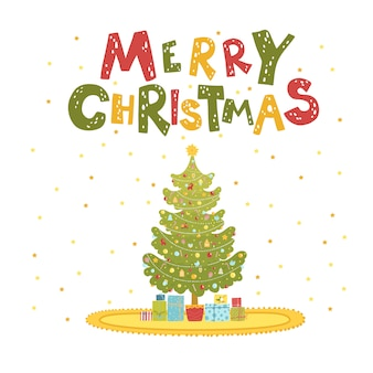 Merry christmas card with christmas tree and gifts.