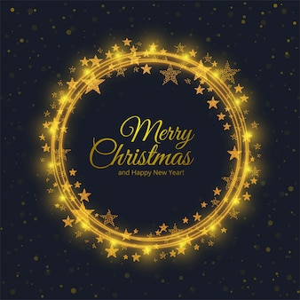 Merry christmas card with circle shiny stars background