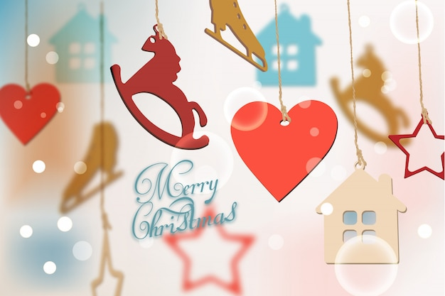 Merry christmas card with colorful decorations