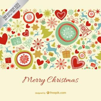 Cartolina di natale allegra con ornamenti colorati