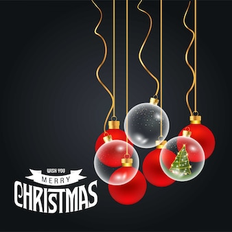 Merry christmas card with creative design and dark background vector