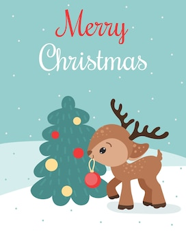 Merry christmas card with cute baby dear with christmas ball and christmas tree.
