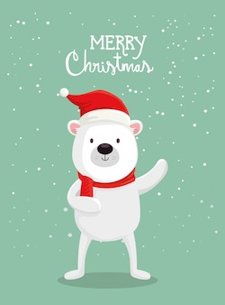 Merry christmas card with cute bear