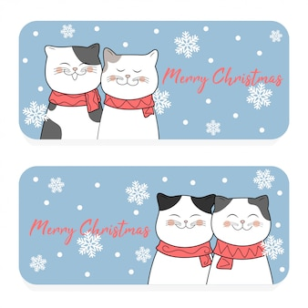 Merry christmas card with cute cat