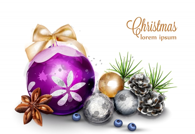 Merry christmas card with cute decorations
