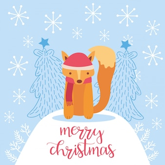 Merry christmas card with cute fox.