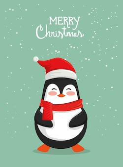 Merry christmas card with cute penguin