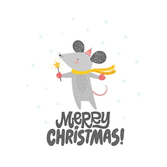 Merry christmas card with cute rat, mouse.