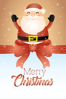 Merry christmas card with cute santa claus