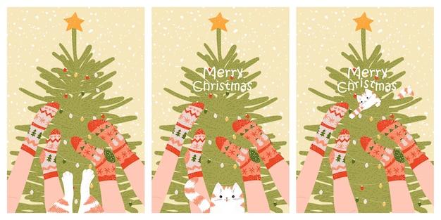 かわいい靴下と猫のメリークリスマスカード新年のポスターのセット冬の家族の休日