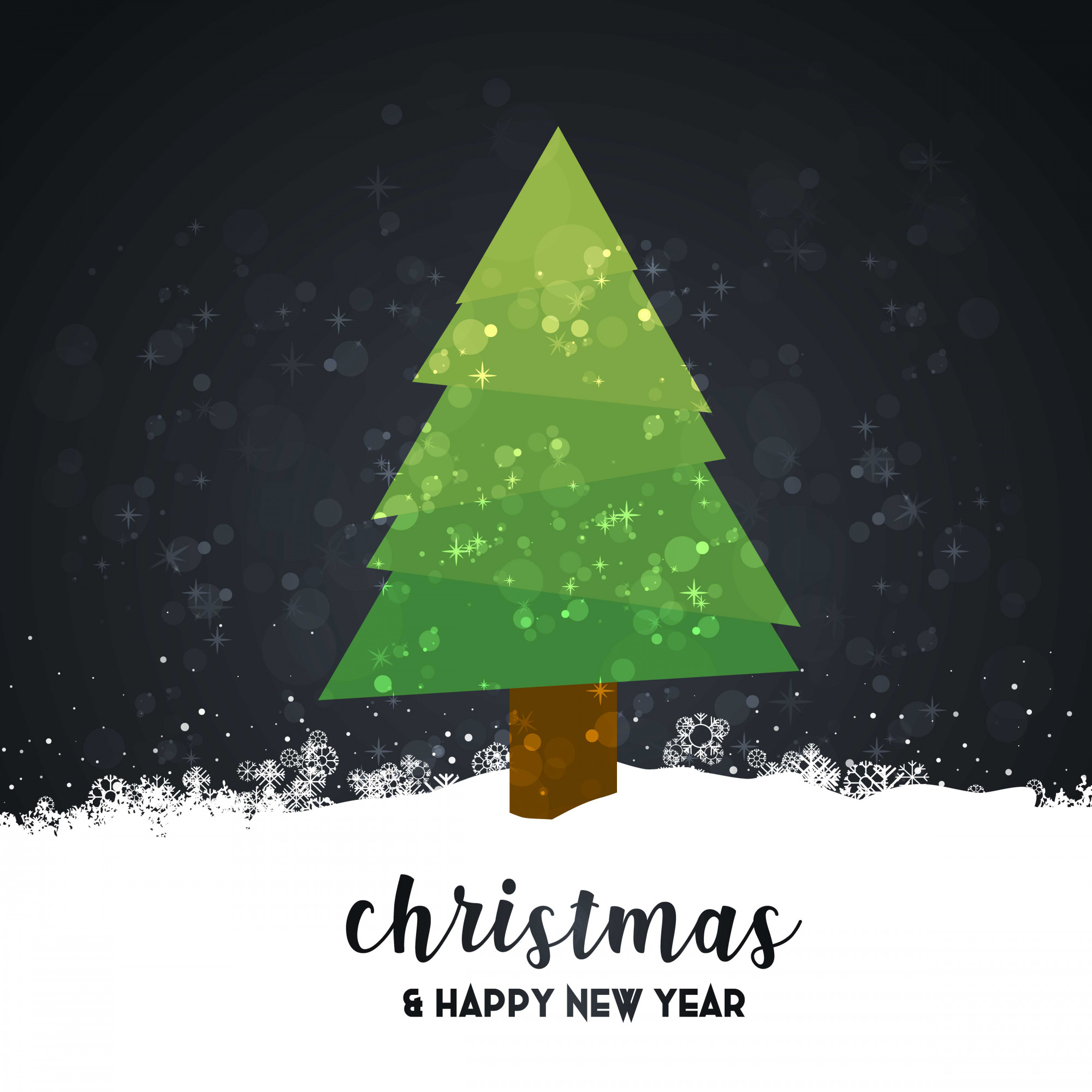 Merry Christmas card with dark background and typography vector
