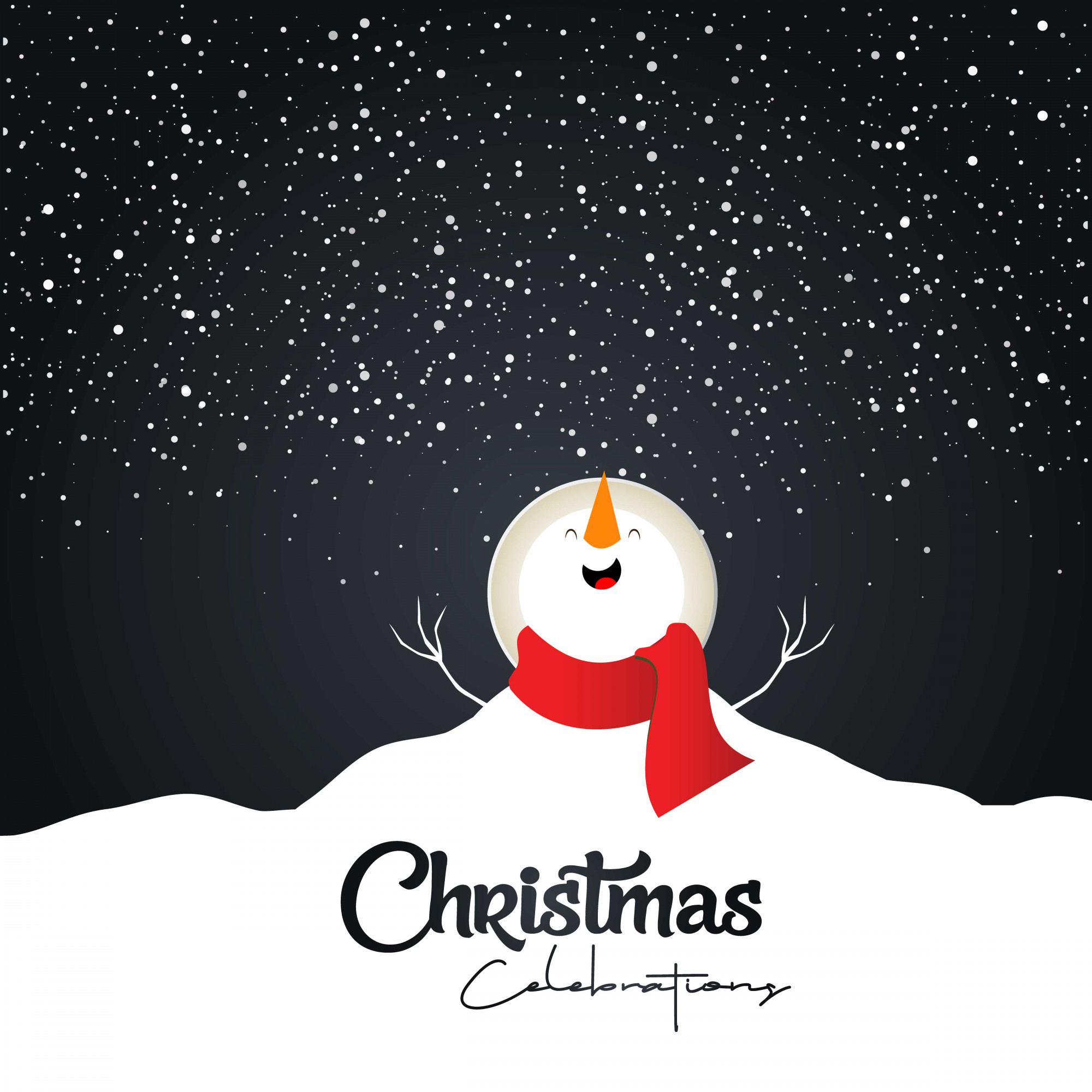 Merry Christmas card with dark background