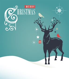 파란색 배경에 사슴 개요와 함께 메리 크리스마스 카드. 인사말 카드, 배너 또는 포스터에 대 한 벡터 템플릿