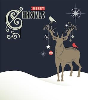 С рождеством христовым открытка с контуром оленей.