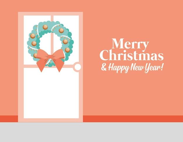 Веселая рождественская открытка с дверью и рождественским венком. векторная иллюстрация