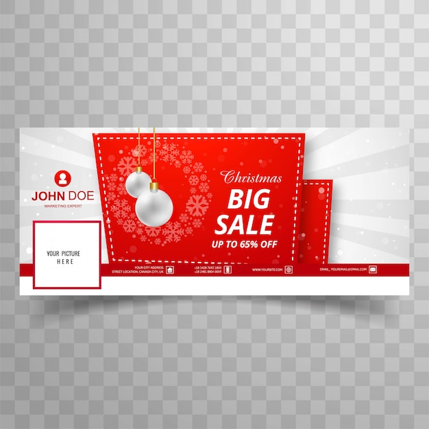 Merry christmas card with facebook big sale banner template design