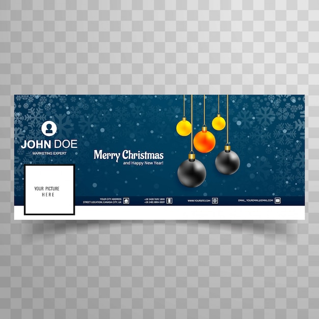 Merry christmas card with facebook cover banner template design