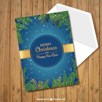 Веселая рождественская открытка с еловыми ветками