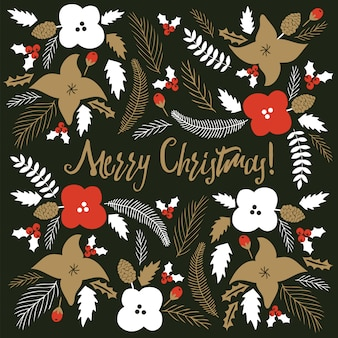 Merry christmas card with florals.
