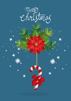 Merry christmas card with flower and cane hanging