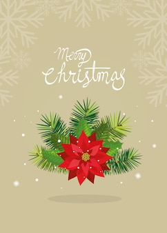 Merry christmas card with flower decoration