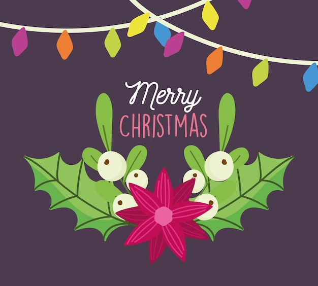 Веселая рождественская открытка с украшением огней цветков омелы