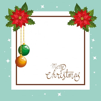 Merry christmas card with flowers decoration and square frame