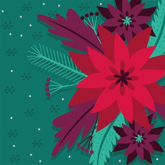 Merry christmas card with flowers garden decoration vector illustration design