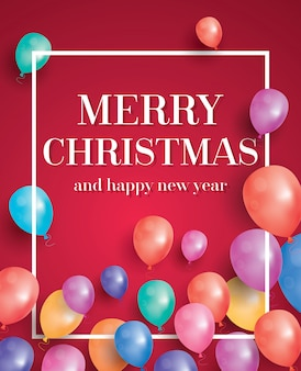 Merry christmas card with flying balloons and white frame.