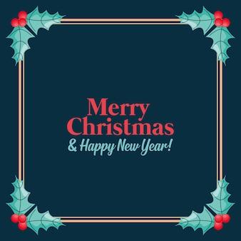 Веселая рождественская открытка с рамкой. векторная иллюстрация