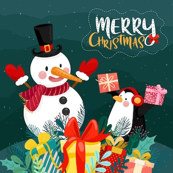 Merry christmas card with gift box, penguin and snowman on snow and pine