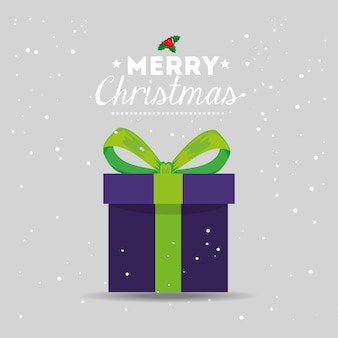 Merry christmas card with gift box