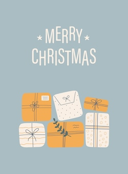 Merry christmas card with gift boxes and text on a blue background