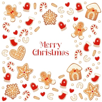진저 쿠키와 함께 메리 크리스마스 카드입니다. 비스킷에서 프레임입니다. 새 해 디자인을 위한 벡터 일러스트 레이 션.
