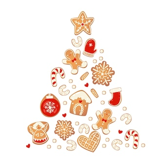 Merry christmas card with gingerbread cookies. tree from biscuits.  vector illustration for new year design.
