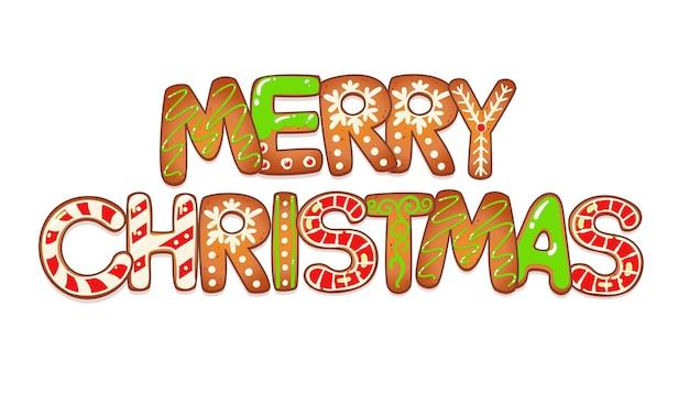 ジンジャーブレッドクッキーとメリークリスマスカード。新年のデザインのベクトルイラスト。