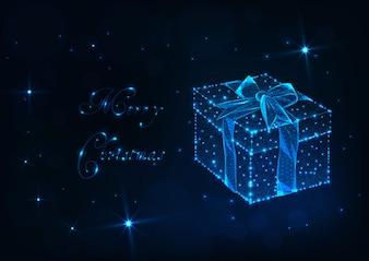 グロー低ポリギフトボックス、リボンの弓とメリークリスマスカード