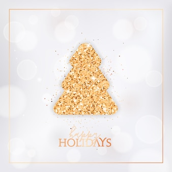 Merry christmas card with gold glittering fir tree and happy holidays typography. festive design with spruce on white blurred background with golden frame. new year holiday season vector illustration