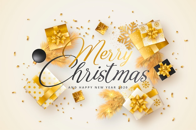 Merry christmas card with golden and black presents