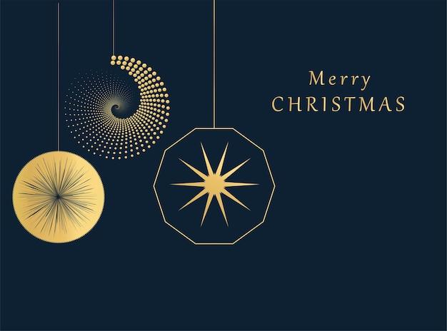 黄金の幾何学的な要素を持つメリークリスマスカードベクトルトレンディな背景