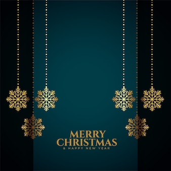 Merry christmas card with golden snowflakes decoration